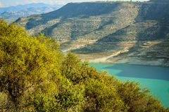 Valley in the mountains on a hike in, Limassol, Cyprus royalty free stock images