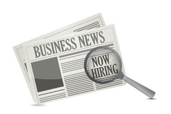 Found a job opportunity on a Business Newspaper. Illustration design over a white background Stock Photos