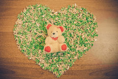 Found in love, Origami Peacock Heart Shape with Bear decorations Stock Photos