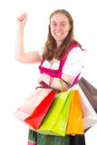 Found so many nice articles on shopping tour. She found so many nice articles on shopping tour Royalty Free Stock Photo