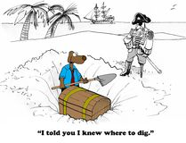 Found Money. Business cartoon about digging for money Royalty Free Stock Photography