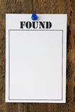 Found Notice Stock Images