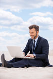 He found a peaceful place to work. Stock Photography
