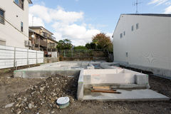 Foundation base of a family house. Kyoto, Japan - Nov 15, 2015: Foundation base of a family house at a neigbourhood in Kyoto Japan Royalty Free Stock Photos