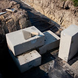 Foundation bricks and trowel Stock Photography