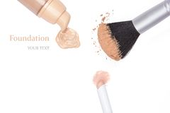 Foundation, concealer pencil and powder with makeup brush Stock Images