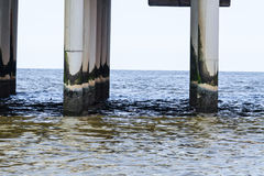 Foundation concrete columns on the pier of Scheveningen Royalty Free Stock Images