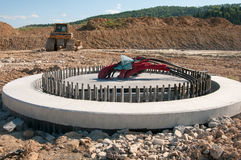Foundation. Concrete foundation ready to be assembled on new wind turbine farm Stock Image
