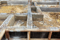 A foundation construction for home building Royalty Free Stock Image