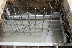 Foundation construction for home building Stock Images