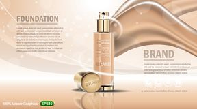 Foundation cream bottle template ads, with abstract background. Good for your magazine or poster. Ready for print. 3d illustration Stock Photos