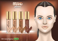Foundation Creams set ads, with nice brunette woman on brown background. Realistic image template. EPS 10 Vector graphics vector illustration