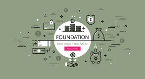 Foundation. Flat thin line vector hero banner Stock Photos