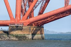 Foundation Forth Railway Bridge near Queensferry in Scotland stock image