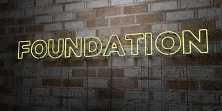 FOUNDATION - Glowing Neon Sign on stonework wall - 3D rendered royalty free stock illustration. Can be used for online banner ads and direct mailers Royalty Free Stock Photo