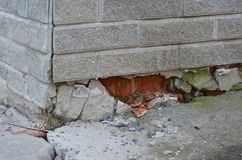 Foundation house wall damage from wetness. Foundation walls with. Out waterproofing. Cracked foundation wall stock image