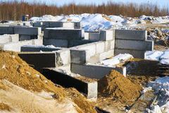 The Foundation of a house in the winter. Royalty Free Stock Image