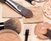 Foundation makeup products on crumpled paper. Selective focus Stock Photo