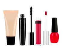 Foundation, mascara, lip gloss and nail polish isolated on white Stock Image