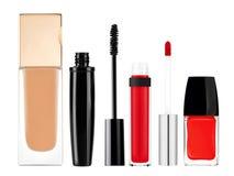 Foundation, mascara, lip gloss and nail polish isolated on white Royalty Free Stock Image