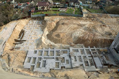Foundation of new construction at a building site. Concrete works at building site Royalty Free Stock Image