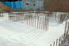 Foundation of new construction at a building site Stock Photos