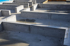 The foundation of a new house. The concrete foundation of a new house Royalty Free Stock Image