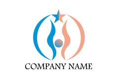 Foundation organization logo. A logo that depicts a person holding a star done half in blue, half in pink color. Can be a symbol of generosity, friendship and Stock Image