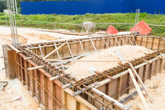 Foundation, pillar and beam being constructed at construction site Royalty Free Stock Photos