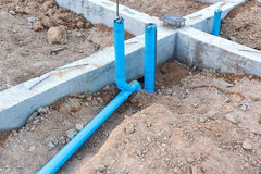 Foundation with pipe for house building Royalty Free Stock Photos