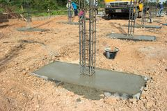 Foundation post. In construction site Royalty Free Stock Image