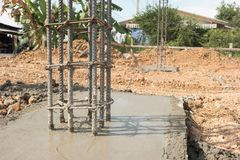 Foundation post. In construction site Royalty Free Stock Photos