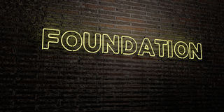 FOUNDATION -Realistic Neon Sign on Brick Wall background - 3D rendered royalty free stock image. Can be used for online banner ads and direct mailers Royalty Free Stock Images