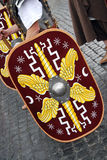 Foundation of Rome. Romaia - Rome celebrates its foundation, April 2009: man wearing ancient roman costume and shield Royalty Free Stock Photo