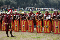 Foundation of Rome. Romaia - Rome celebrates its foundation, April 2009: men wearing ancient roman soldiers costume Stock Image