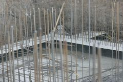 Foundation site of new building royalty free stock photo