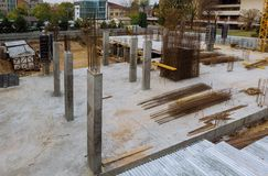 Foundation steel for home building construction of an apartment house. Construction of apartment house foundation steel for home building reinforcement armature stock photography