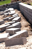 Foundation Wall Cement Bricks Royalty Free Stock Image