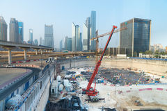 Foundation works of a massive construction project in downtown D Royalty Free Stock Image