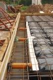 Foundation Works Showing Radon Ventilation Pipes Stock Image