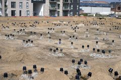 Foundations on a construction site Royalty Free Stock Photography