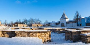 Foundations of medieval churches of the Dovmont town in Pskov Stock Photos