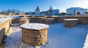 Foundations of medieval churches of the Dovmont town in Pskov stock photography