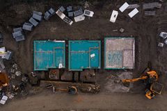 Foundations of new houses from a birds eye aerial view stock images