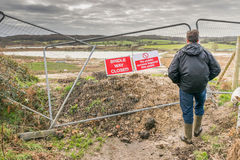 Foundations for new road being laid across marshland countryside Royalty Free Stock Photography