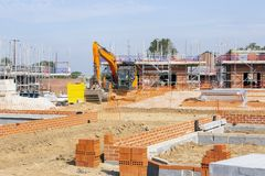 Foundations of newly build homes UK royalty free stock photos