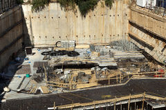 Construction Site - Foundations. Foundations stage at a large-scale construction site Stock Images