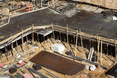 Construction Site - Foundations. Foundations stage at a large-scale construction site Stock Image