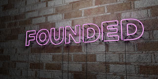FOUNDED - Glowing Neon Sign on stonework wall - 3D rendered royalty free stock illustration. Can be used for online banner ads and direct mailers vector illustration