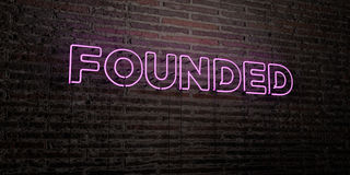 FOUNDED -Realistic Neon Sign on Brick Wall background - 3D rendered royalty free stock image. Can be used for online banner ads and direct mailers stock illustration